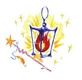 Illustration magique d'aquarelle avec les éléments artistiques tirés par la main d'isolement sur le fond blanc - la lanterne, bag Illustration Libre de Droits