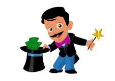 Illustration magique de bande dessinée d'argent de magicien d'homme illustration stock