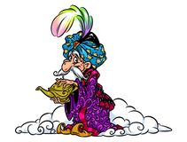 Illustration magique orientale de bande dessinée de magicien de lampe illustration stock