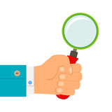 Illustration - magnifying glass in hand businessman Stock Photo