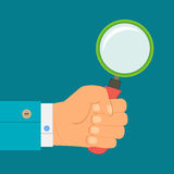 Illustration - magnifying glass in hand businessman Stock Images