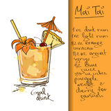 Illustration with Mai Tai cocktail Royalty Free Stock Photography