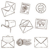Illustration of mailing icons - sketch style Stock Images