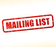Mailing list text stamp. Illustration of mailing list text stamp Royalty Free Stock Image
