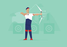 Illustration Of Male Archer Competing In Event vector illustration