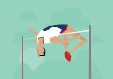 Illustration Of Male Athlete Competing In High Jump Event Stock Images