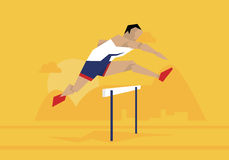 Illustration Of Male Athlete Competing In Hurdles Race royalty free illustration