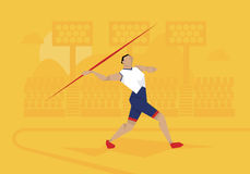 Illustration Of Male Athlete Competing In Javelin Event Stock Photo