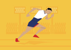 Illustration Of Male Athlete Competing In Sprint Race royalty free illustration