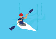 Illustration Male Canoeist Competing In Kayak Event Royalty Free Stock Photos