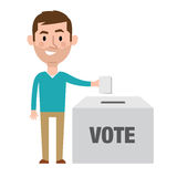 Illustration Of Male Character Putting Vote In Ballot Box Stock Photo