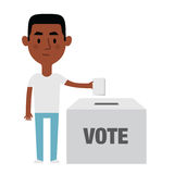 Illustration Of Male Character Putting Vote In Ballot Box. Illustration Stock Photo