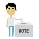 Illustration Of Male Character Putting Vote In Ballot Box Royalty Free Stock Image