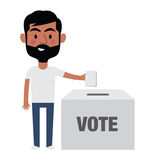 Illustration Of Male Character Putting Vote In Ballot Box Stock Images