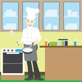 Illustration of a male chef cooking at the kitchen Royalty Free Stock Photography
