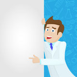 Illustration with Male doctor in a lab coat points to a blank banner on a blue background with icons on a theme medicine. Male doctor in a lab coat points to a stock illustration