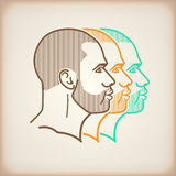 Illustration with male faces Royalty Free Stock Images