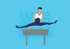 Illustration Of Male Gymnast Competing On Pommel Horse Royalty Free Stock Image