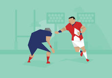 Illustration Of Male Soccer Rugby Competing In Match royalty free illustration