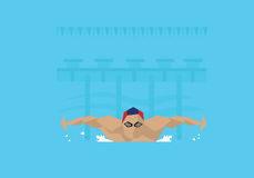 Illustration Of Male Swimmer Competing In Butterfly Event royalty free illustration