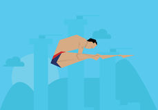 Illustration Male Swimmer Competing In Diving Event stock illustration
