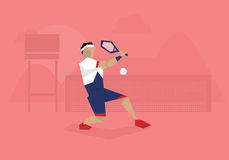 Illustration Of Male Tennis Player Competing In Match Royalty Free Stock Photography
