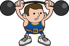 Illustration male weightlifter. Illustration of male weightlifter lifting barbells Stock Image