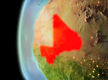 Evening view of Mali on Earth. Illustration of Mali as seen from Earth's orbit in late evening. 3D illustration. Elements of this image furnished by NASA Royalty Free Stock Photo