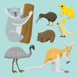 Illustration mammifère de vecteur de collection de nature de bande dessinée d'animaux sauvages d'Australie de style plat populair illustration stock