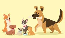 Illustration mammifère heureuse comique de race drôle jouante mignonne de vecteur de race de chienchien de caractères de chiens d illustration de vecteur