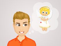 Man with angel unconscious. Illustration of man with angel unconscious royalty free illustration
