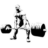 The Illustration man with barbell deadlift Stock Images