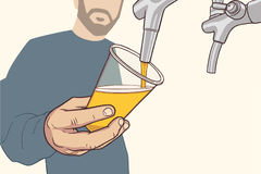 Illustration of man with beard pouring draft beer in vintage colors Royalty Free Stock Photo
