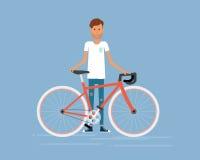 Illustration man and bike.flat vector cartoon Royalty Free Stock Images