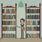 Illustration of a man with a book between bookshelves in the lib Stock Images