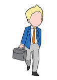 Illustration of Man with Briefcase Walking Stock Images