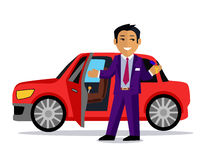 Illustration of Man Buys a New Car Royalty Free Stock Image