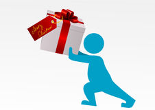 Illustration of a man carrying a gift Stock Photo