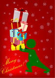 Illustration of a man carrying gifts Royalty Free Stock Photography