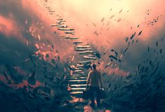 Illustration of a man and dangerous stairs. A man attempting to climb up a set of dangerous stairs Stock Photo