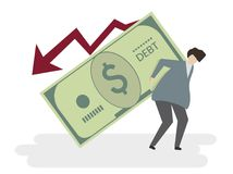 Illustration of a man in debt Stock Images