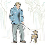 Illustration of a man and dog. Stock Photography