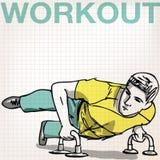 Illustration of Man doing push-ups bars Royalty Free Stock Image