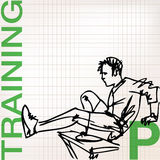 Illustration of Man doing stretching exercises at the gym Royalty Free Stock Photography