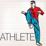 Illustration of Man doing stretching exercises at the gym Stock Images