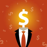 Illustration of a man with a dollar sign instead of a head Royalty Free Stock Image