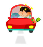 Illustration of a man driving with intoxication. Drunk driving causes accidents and traffic condemnation Royalty Free Stock Image
