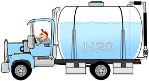 Man driving a water truck stock illustration