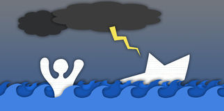 Illustration of a man drowning Stock Image