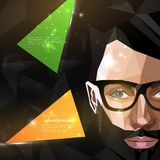 Illustration with man face in polygonal style. modern poster of fashion, beauty or entertainment concept Royalty Free Stock Photography